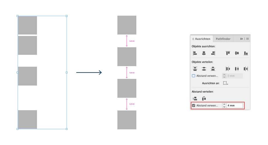 gleichen Abstand zwischen Objekten in InDesign verteilen