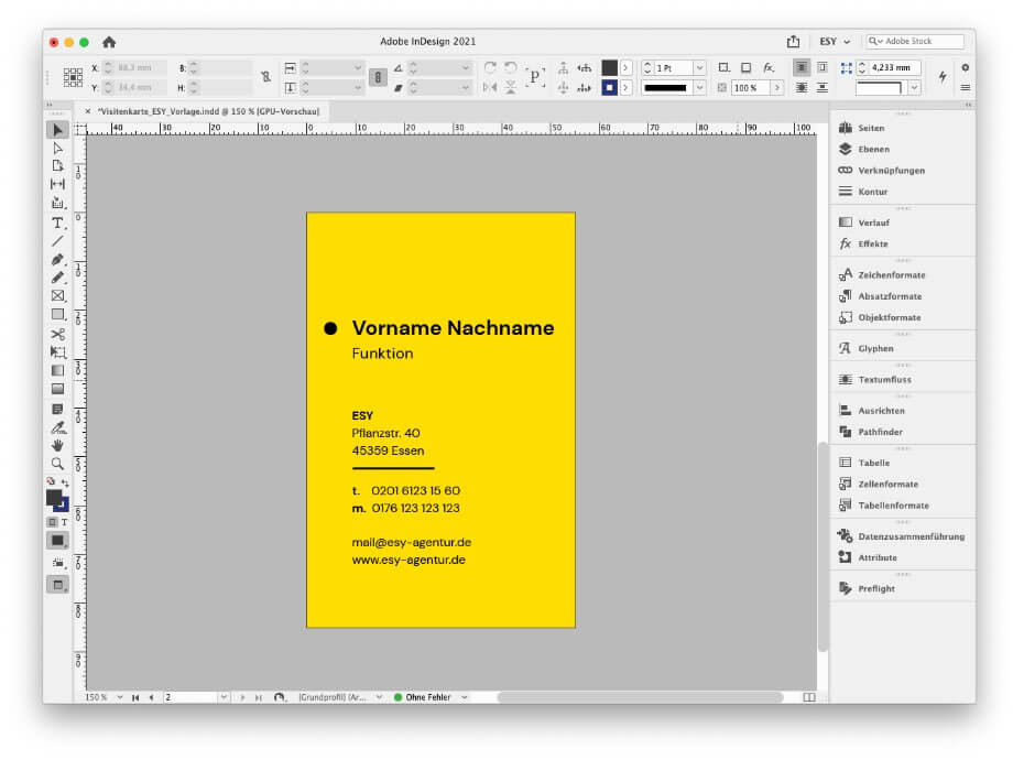 Layout Visitenkarte InDesign