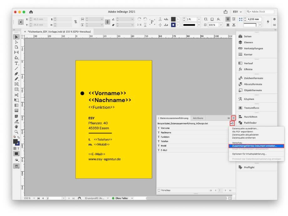 zusammengeführtes Dokument erstellen InDesign